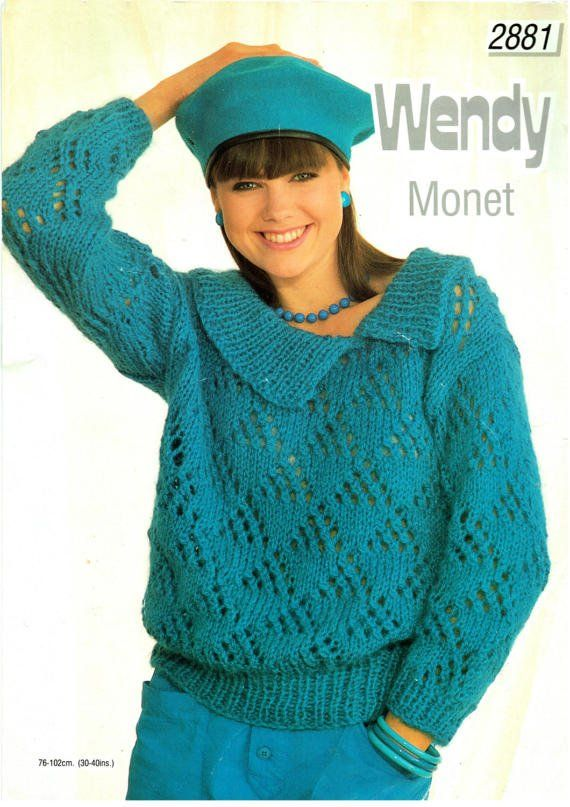 PDF Vintage Womens Ladies Knitting Pattern 1980s 1950s vibe