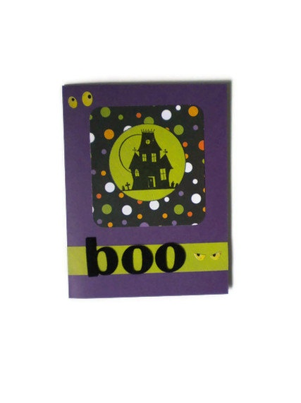 Haunted House Halloween Card by lilaccottagecards on Etsy, $3.50