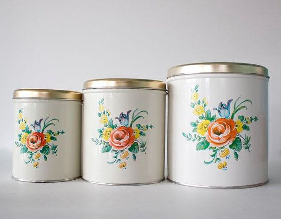 vintage floral decoware canister set fifties kitchen