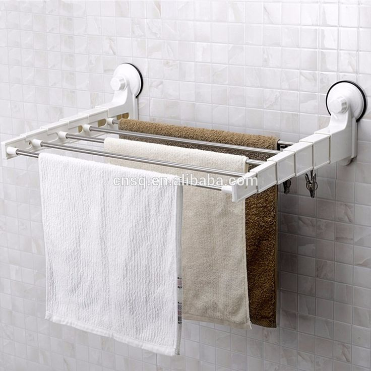 Strong Suction Cup Towel ⊰ Rack Stainless Steel Bathroom Towel ᑐ Rack Shelf  Stainless Steel Frame Retractable Towel Bar Strong Suction Cup Towel Rack  ...