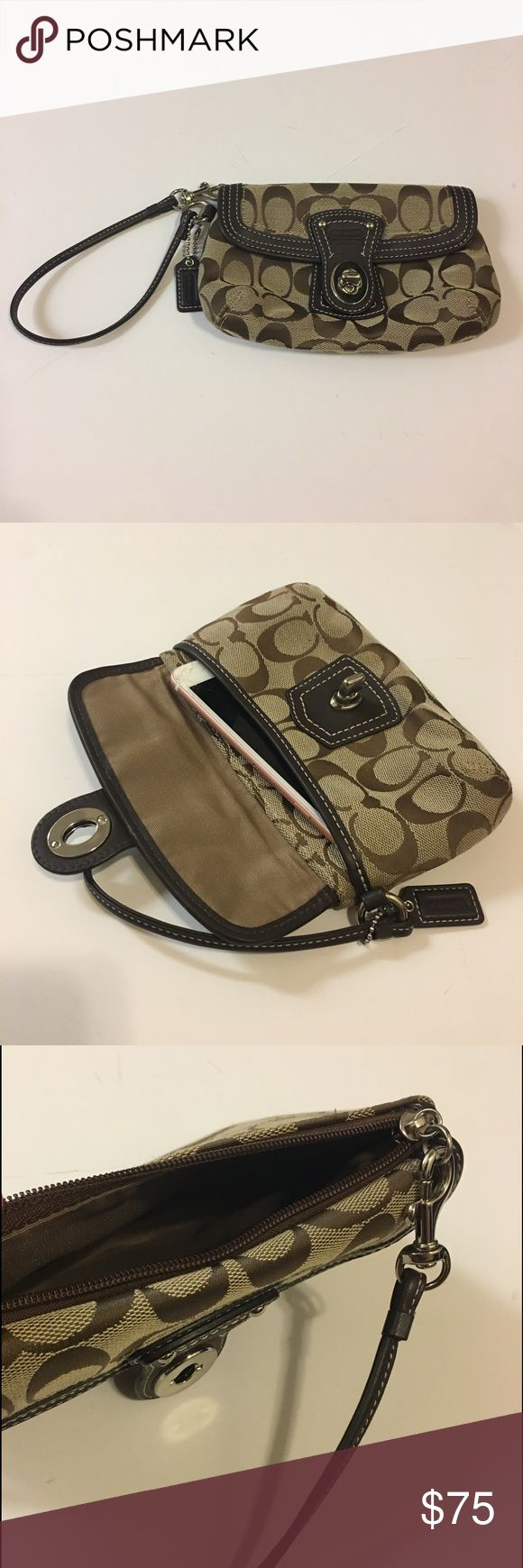 Coach Wristlet Cell Phone Holder Purse Mini Bag Super chic Coach wristlet with a pocket and a zipper. Stunning and perfect for all occasions! AUTHENTIC signiture print Coach Bags Clutches & Wristlets
