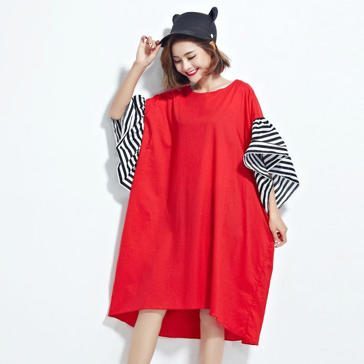 Women Oversize Shirt Dress Flared Short Sleeve Slim Loose Maternity Jumper Skirt