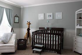 Light blue/grey & white with dark furniture