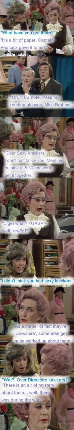 """A titillating note upsets Mrs Slocombe (Mollie Sugden) and Miss Brahms (Wendy Richard) in the Ladies Department. """"Dear Sexy Knickers"""", Are You Being Served? 1972"""