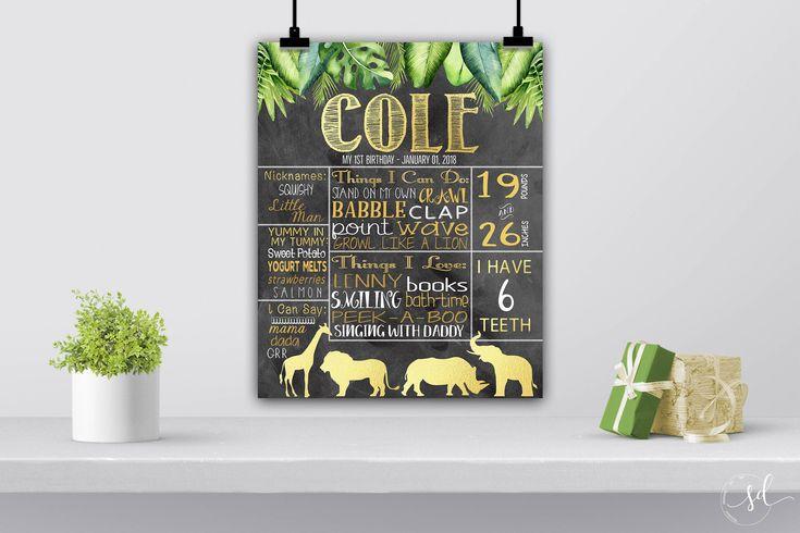 Jungle Birthday Poster, Safari, Zoo, First 1st Chalkboard Sign, Animals Theme, Monkey, Elephant, Giraffe, Lion, Baby Milestone Stats Digital by SquishyDesignsbyMe