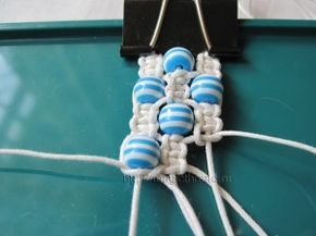 diy hemp bracelet * basic square knot. Make 3 groups of 4 strings, then just start square knotting & add cute beads along the way!