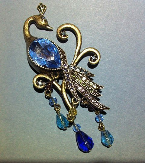 Vintage Bronze Tone Peacock with Rhinestones and Glass Bead Dangles Brooch