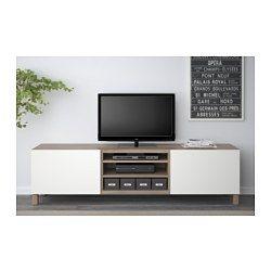 BESTÅ Banc TV avec tiroirs, motif noyer teinté gris, Lappviken blanc - 180x40x48 cm - glissière tiroir, fermeture silence - IKEA