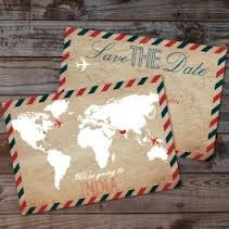 vintage travel theme wedding save the date - Google Search
