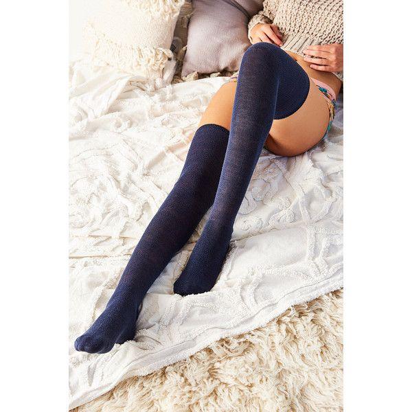 Solid Thigh-High Socks ($9.75) ❤ liked on Polyvore featuring intimates, hosiery, socks, navy, navy socks, navy blue thigh high socks, thigh high hosiery, navy thigh high socks and thigh high socks