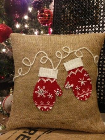 Pretty burlap diy Applique Mittens Pillow for 2015 christmas - snowflack, beads - 2015 Christmas burlap pillow that are perfect for home decor ! by rreemoh