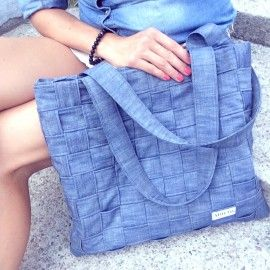 Torba jeansowa pleciona / Denim bag - Blue Jeans [Militu] -> Zitolo.com