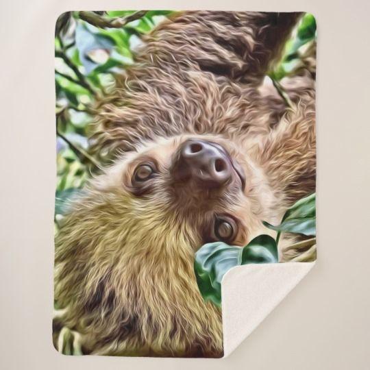 painted Sloth Sherpa Blanket