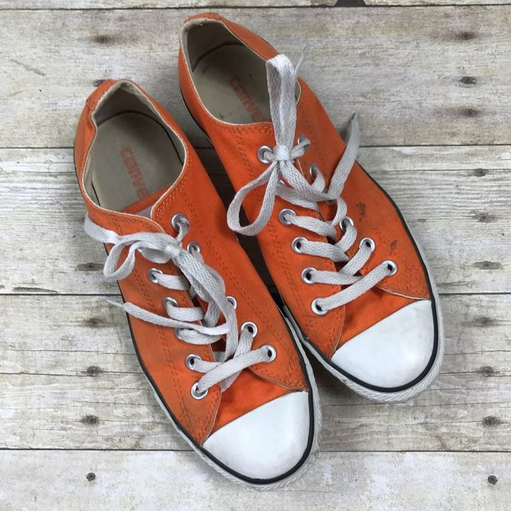 Converse All Star Sneakers Orange Unisex Shoes Low Chuck Taylor Women 8 Men  6 #Converse