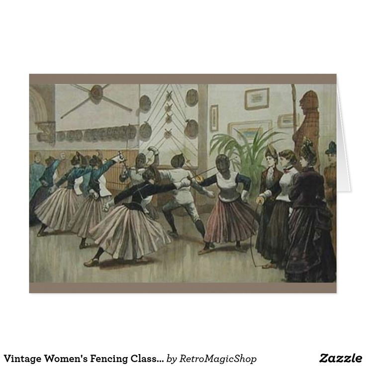 Vintage Women's Fencing Class Note Card