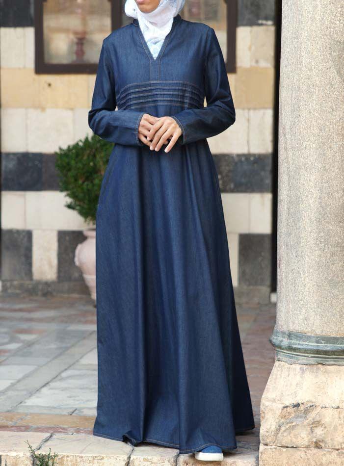 Hijab Fashion 2016/2017: SHUKR USA | Denim Ambarin Abaya  Hijab Fashion 2016/2017: Sélection de looks tendances spécial voilées Look Descreption SHUKR USA | Denim Ambarin Abaya