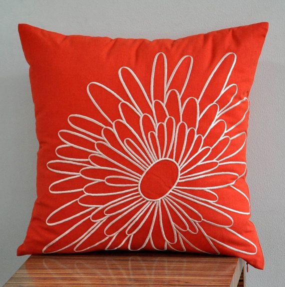 """Orange Magnolia -Throw Pillow Cover 18"""" x 18"""" Decorative Pillow Cover- Orange Linen with Beige Flowerl Embroidery"""