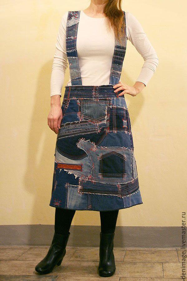"""Купить Юбка-сарафан в стиле """"Боро"""" - джинсовая юбка, джинсовый сарафан, деним, тёмно-синий"""