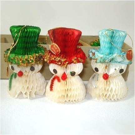 50s Honeycomb Paper Snowmen Christmas Ornaments