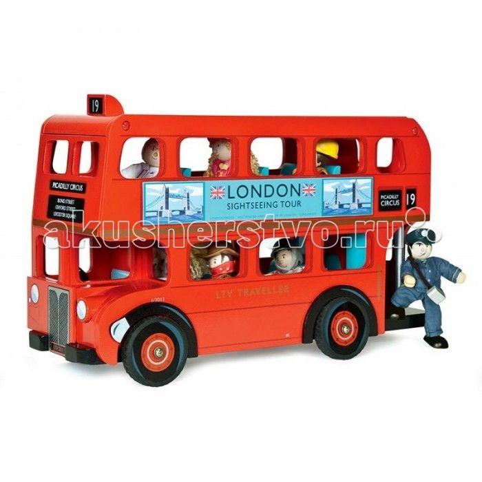 Деревянная игрушка LeToyVan Набор Лондонский автобус с водителем и пассажирами  Набор Лондонский автобус с водителем и пассажирами- точная копия лондонском автобуса даблдекер Routemaster с водителем и пассажирами.  Автобус имеет традиционный цвет, указание номера маршрута, рекламу по бокам. Съемная крыша автобуса открывает доступ в пространство второго этажа. Съемные сидения второго этажа открывают доступ к пассажирам первого этажа. В набор включена фигурка водителя. В автобусе может…
