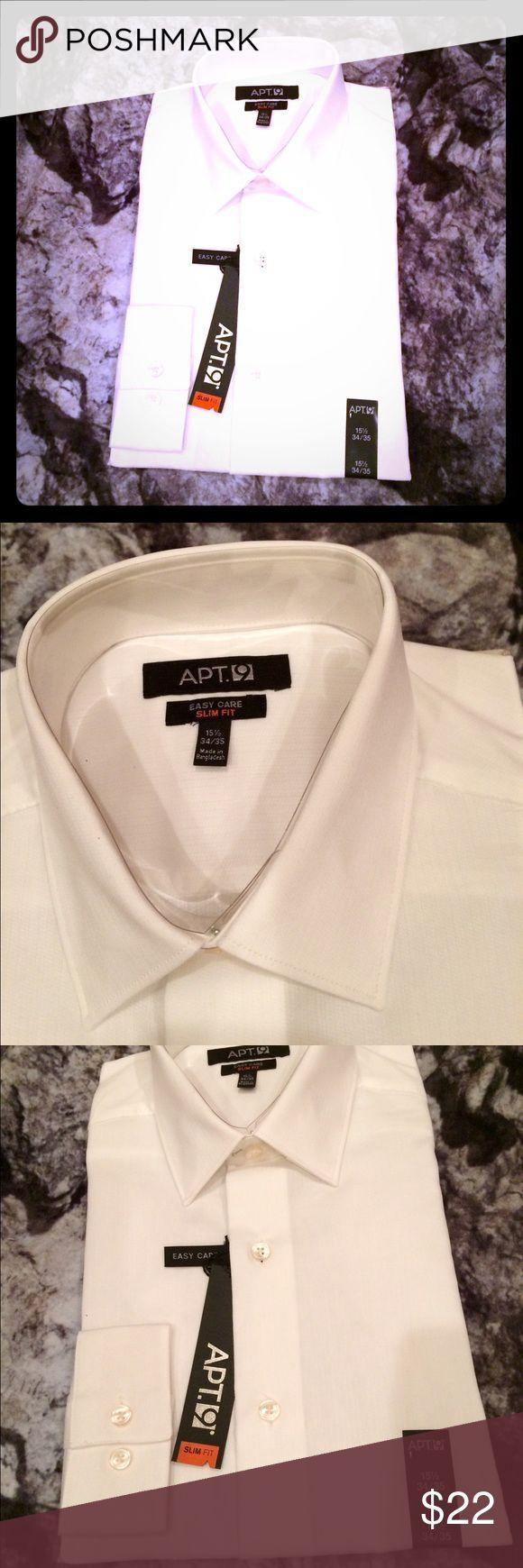 "NWT Apt. 9 Easy Care Slim Fit White Dress Shirt NWT Apt. 9 Easy Care Slim Fit Studio White Dress Shirt. Neck = 15 1/2"" Sleeve = 34/35"" Apt. 9 Shirts Dress Shirts"