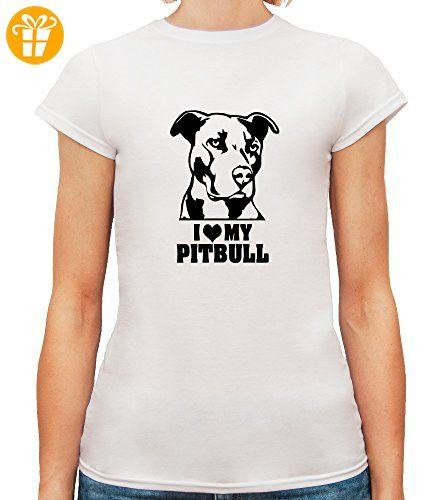 Damen T-Shirt mit I Love My Pitbull Dog Breed Illustration print. Rundhalsausschnitt. X-Large, Weiß (*Partner-Link)