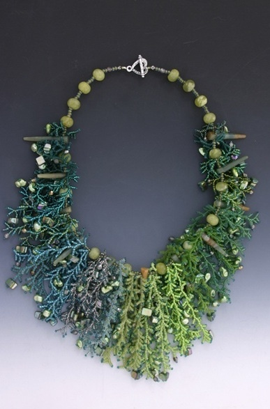 Necklace | Leah Henriquez Ready  'Merida'.  Coralling stitch using seed beads, pearls, crystals, mother-of-pearl, jade.
