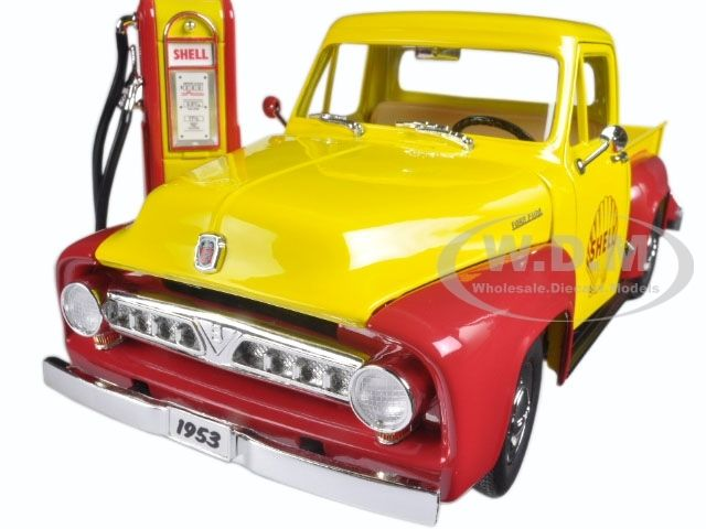diecastmodelswholesale - 1953 Ford F-100 Pickup Truck  Shell Oil with Vintage Gas Pump 1/18 Diecast Model Car  by Greenlight, $49.99 (http://www.diecastmodelswholesale.com/1953-ford-f-100-pickup-truck-shell-oil-with-vintage-gas-pump-1-18-diecast-model-car-by-greenlight/)