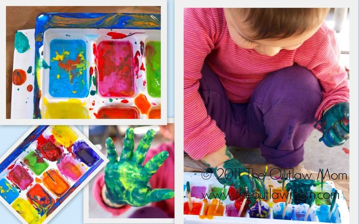Colorful Ice Cube Painting from @Chrissy L Watson | Outlaw Mom. This is just the perfect outdoor activity. So messy, but something so different than coloring with crayons and chalk! This may involve a bit of cleanup (we've got the paper towels covered), but how awesome does this look?
