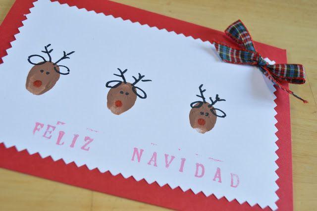 Elenarte: Postales de navidad: Renos con huellas de dedos