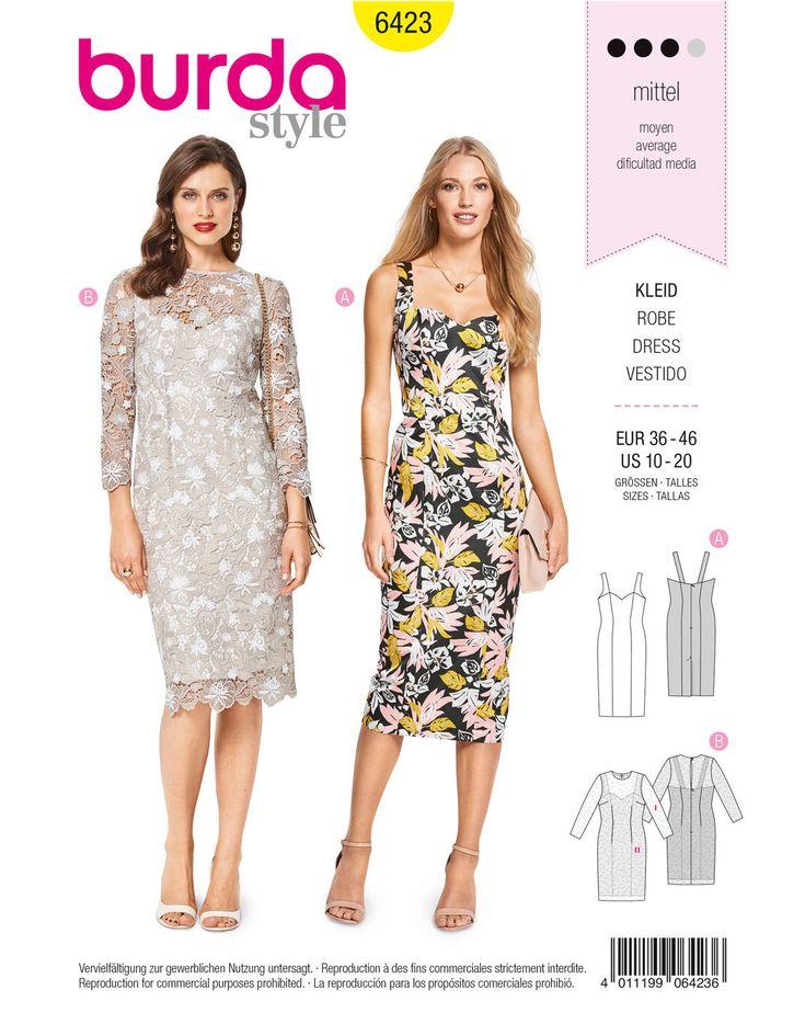 Das Trägerkleid mit apartem Herzausschnitt und Teilungsnähten ist ein schickes, enganliegendes Sommerkleid, auch für besondere Anlässe. Bei Variante B fungiert es als Unterkleid für ein Spitzenkleid mit Ärmeln.