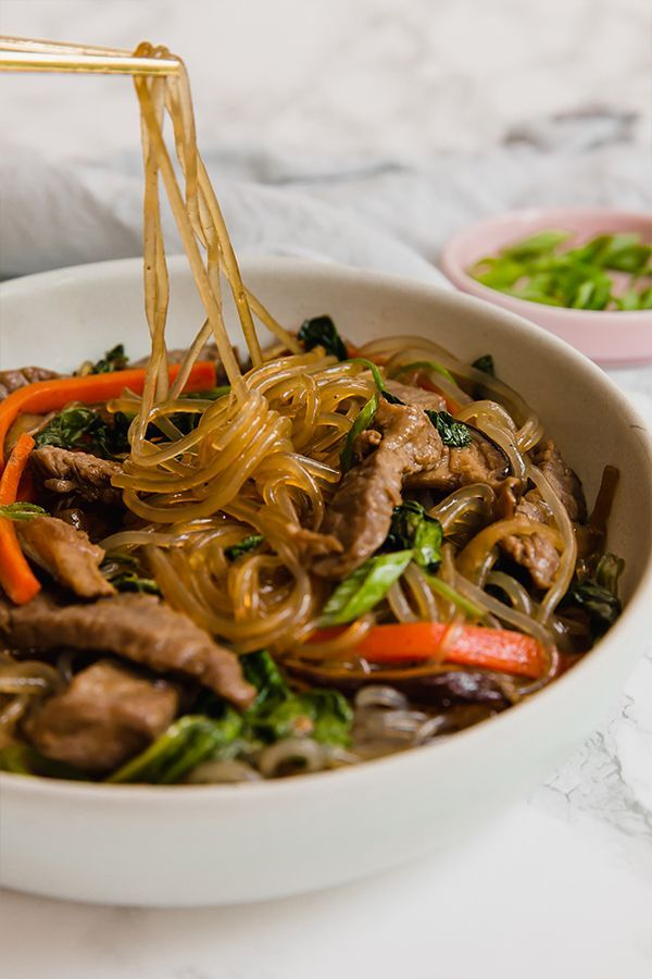 Japchae Korean Noodle Stir Fry Unbound Wellness Recipe In 2020 Korean Noodles Sweet Potato Noodles Korean Sweet Potato Noodles