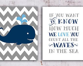 50% OFF SALE.Nautical Nursery Whale nursery by OnlyPrintableArts