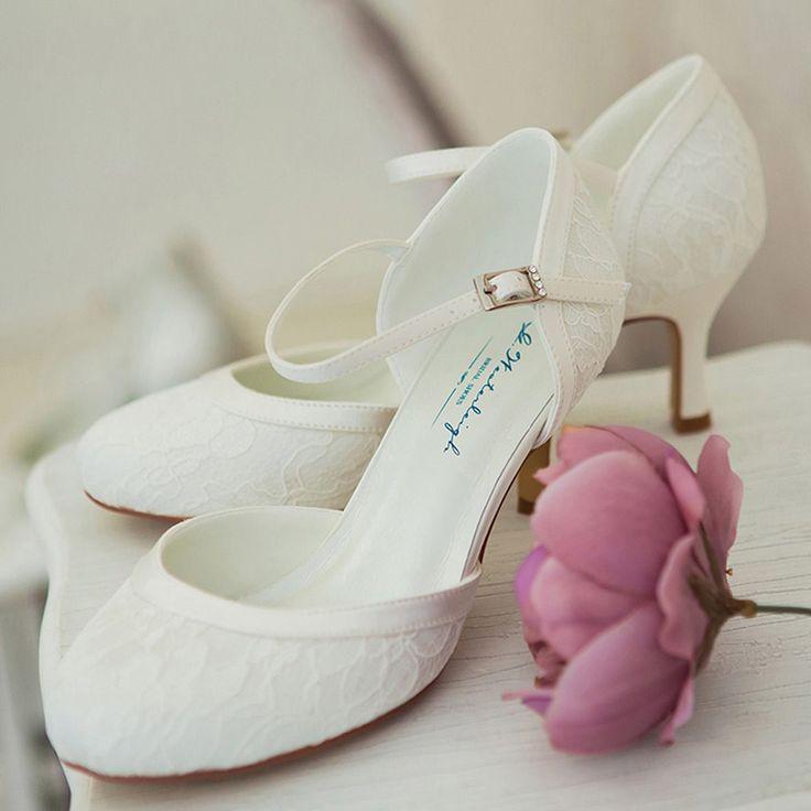 Chaussure mariage ivoire ou blanche en dentelle à bout rond talon 6 cm - Daisy - Westerleigh