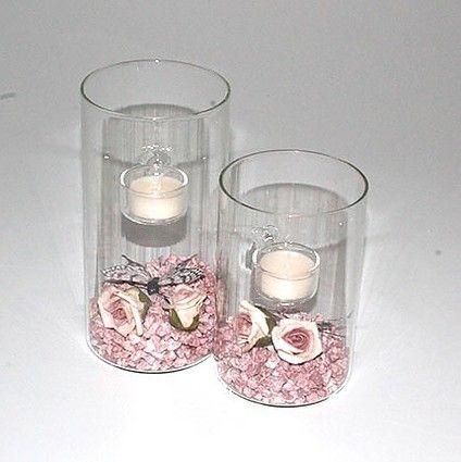 T-light i rosa med roser - mystone.dk