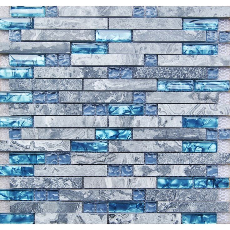 TST Nature Stone Glass Tiles Blue Wave Marble Striped Art Mosaics Bar Hotel Deco