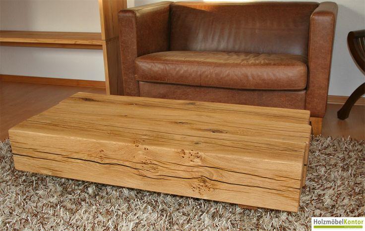 www.holzmoebelkontor.de: #Couchtisch massive Holzbalken. Coole Optik in massiver gerissener Eiche. Risse und Äste sind bei diesem Tisch dunkel verfüllt.