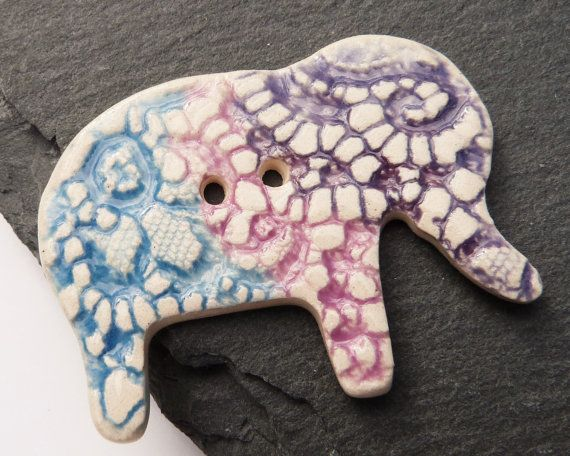 Ceramic Button Elephant Shape White Purple And by craftysewnsews