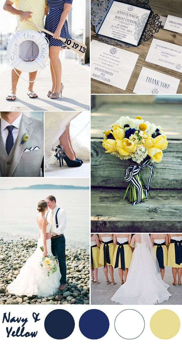 dark blue and pale yellow nautical wedding color ideas
