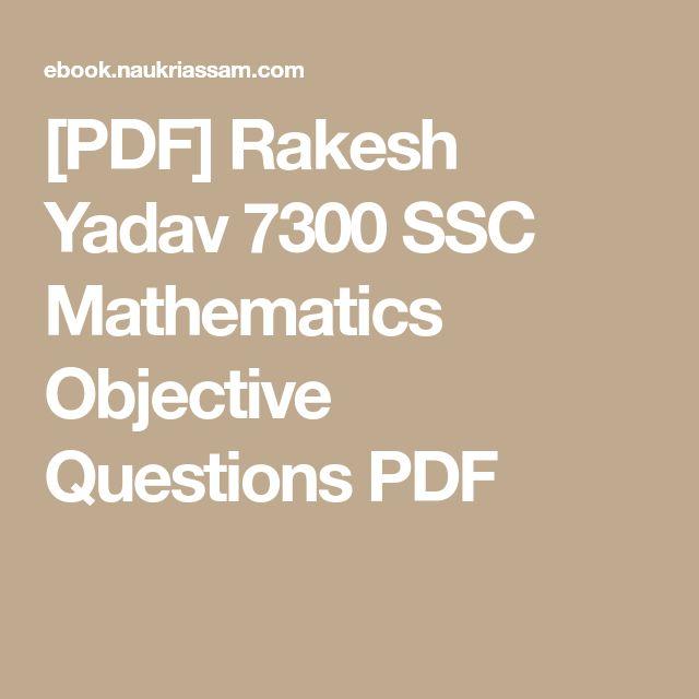 [PDF] Rakesh Yadav 7300 SSC Mathematics Objective Questions PDF
