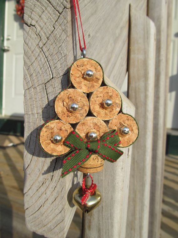 Christmas Tree Wine Cork Ornament (etsy)