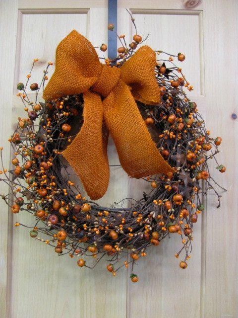Fall Wreath - Pumpkin & Rusty Tin Star Berry Wreath -  Primitive Wreath - Primitive Fall Door Wreath - BURLAP BOW - Halloween Wreath on Etsy, $47.95