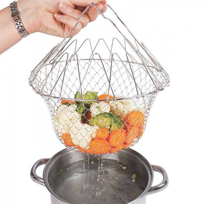 Chef Basket Cesto Multiuso para Cozinhar, Escorrer, Fritar, Vaporizar e Lavar seus Alimentos de Maneira Prática Supermercado Digital