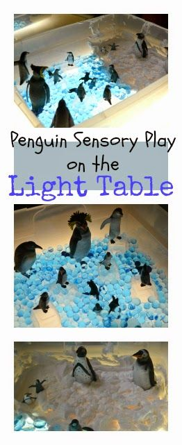 Penguin sensory play on the light table using water beads and shaving cream from @Rainey Day Play