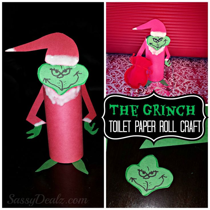 DIY The Grinch Toilet Paper Roll Christmas Craft For Kids | CraftyMorning.com