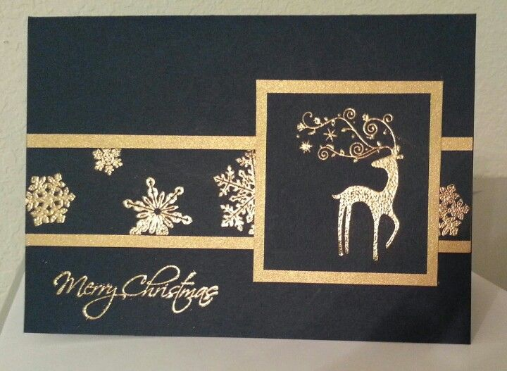 Stampin' Up! ... handmade Christmas card: Dasher card ... .. black cardstock with gold embossing and brushed gold mats ... cleans classic look ...