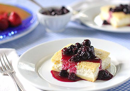 Baked Cheese Blintzes with Fresh Blueberry Sauce