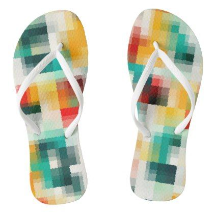 Red Blue Green Yellow White Abstract Pattern Flip Flops - #chic gifts diy elegant gift ideas personalize