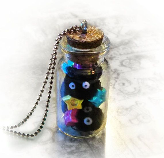 """6 soot sprites & str cookies from Spirited Away in a 4-centimeter-tall & 2-centimeter-wide corked bottle necklace with 27.5"""" chain/cord"""