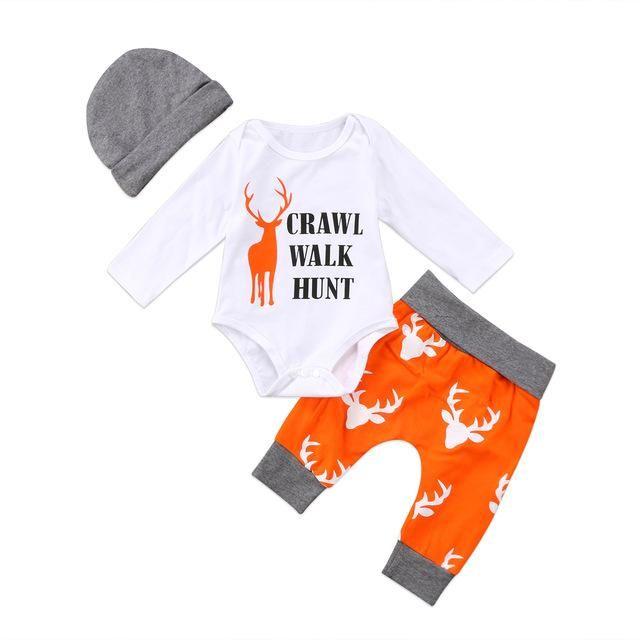 Crawl Walk Hunt Baby Boy Nordic Gift Set Deer Camo Orange Onesie Bodysuit Hat Long Pants New Baby Shower Gifts Deer Hunt Sets 0/6 mo Boys Infant Newborn Clothes Kids Childrens #hunting #daddytobe #deer #deerhunting #Antler #babyclothes #babyboy
